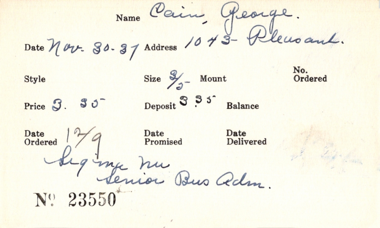 Index card for George Cain