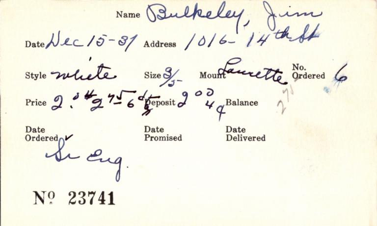 Index card for Jim Bulkeley