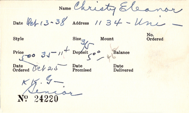 Index card for Eleanor Christy