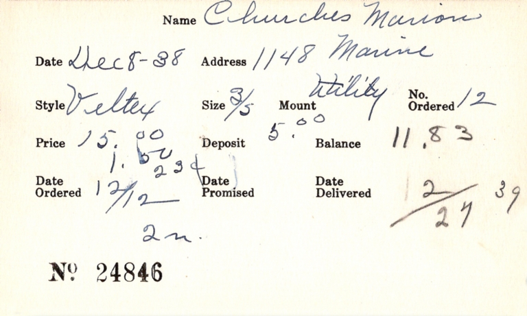 Index card for Marion Churches