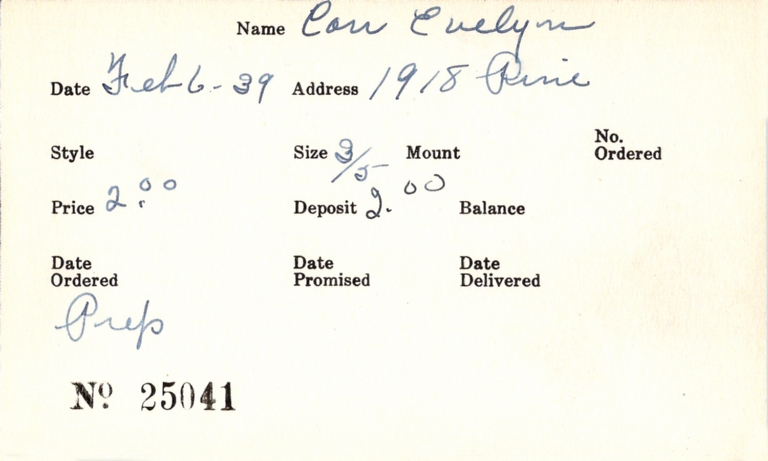 Index card for Evelyn Carr