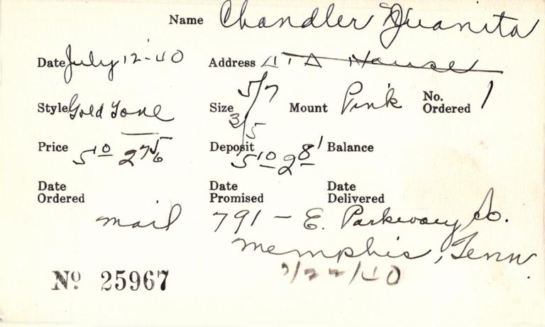 Index card for Juanita Chandler