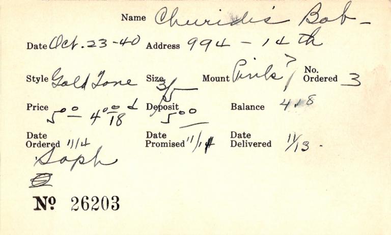Index card for Bob Churidis