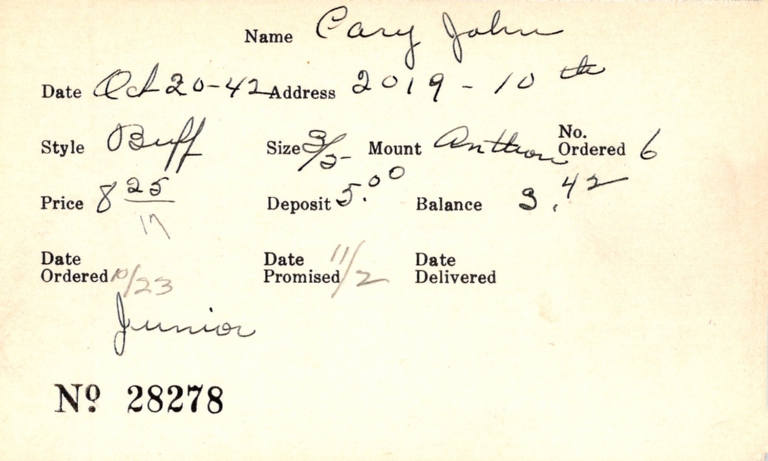 Index card for John Cary