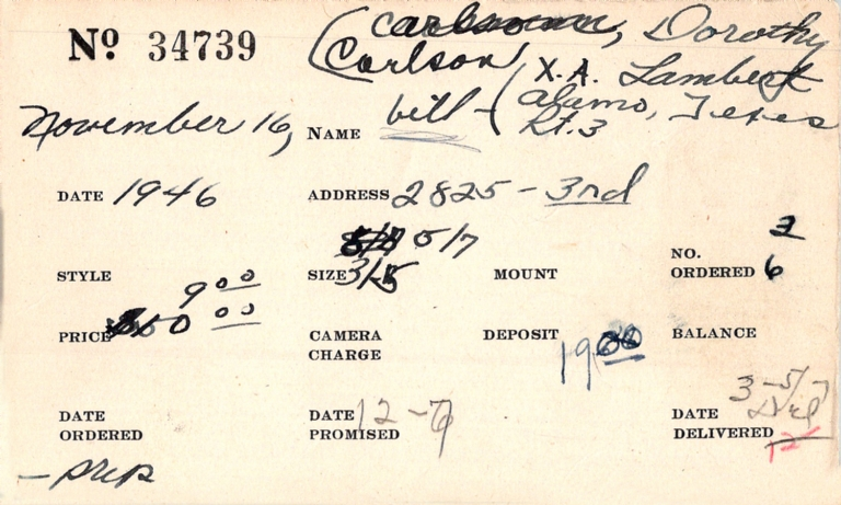 Index card for Dorothy Carlson
