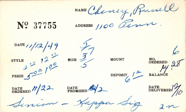 Index card for Russell Cheney