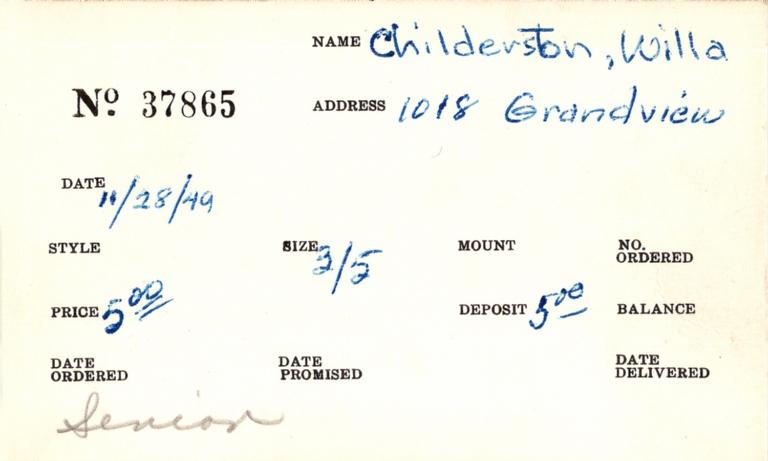 Index card for Willa Childerston