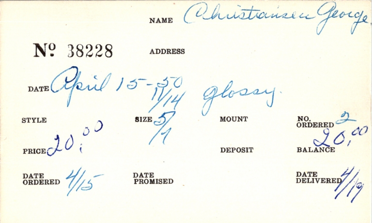 Index card for George Christiansen