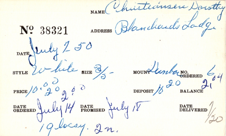 Index card for Dorothy Christiansen