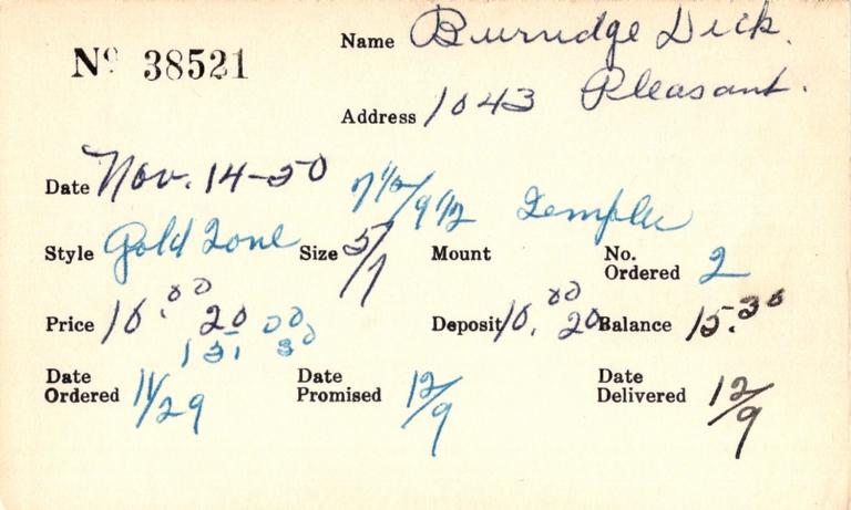 Index card for Dick Burridge