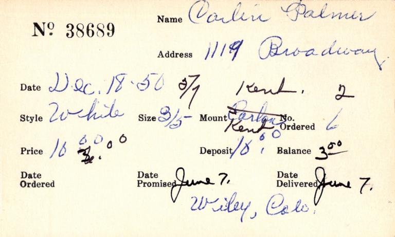 Index card for Palmer Carlin