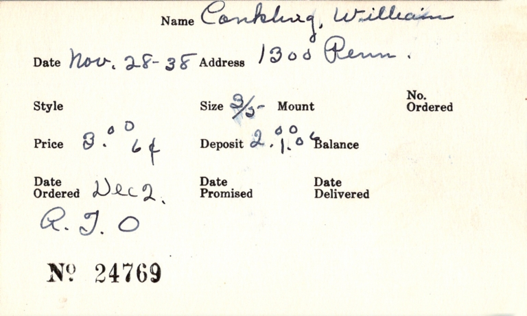 Index card for WIlliam Conkling