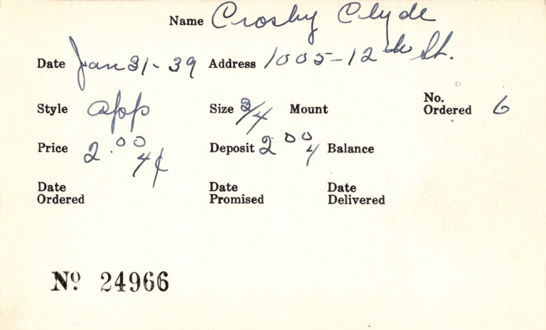Index card for Clyde Crosby