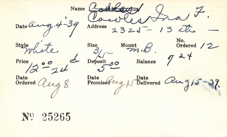 Index card for Ina F. Cowles