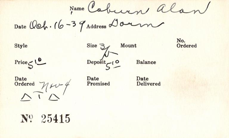 Index card for Alan Coburn