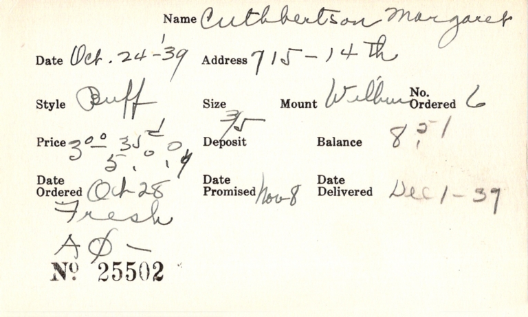 Index card for Margaret Cuthbertson
