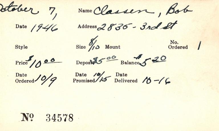 Index card for Bob Classen