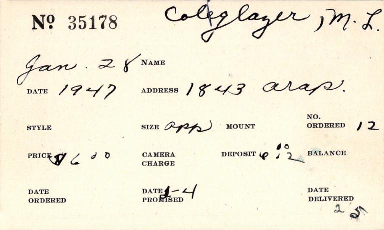 Index card for M. L. Coleglazer