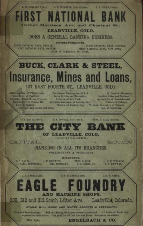 Corbett & Ballenger's ... annual Leadville city directory