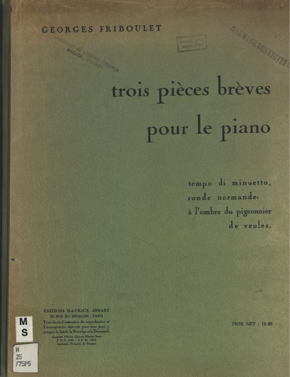 Trois pièces brèves: pour le piano