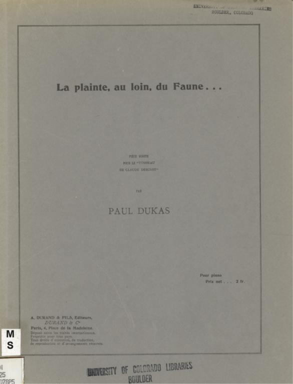 """La plainte, au loin, du faune: pièce écrite pour le """"Tombeau de Claude Debussy"""""""