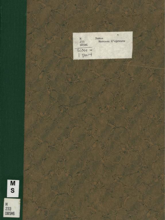 Morceau d'epreuve: joué au Concours de sonorité des violoncelles par Pablo Casals; Morceau d'epreuve: joué au Concours de sonorité des violoncelles par Marix Loevensohn