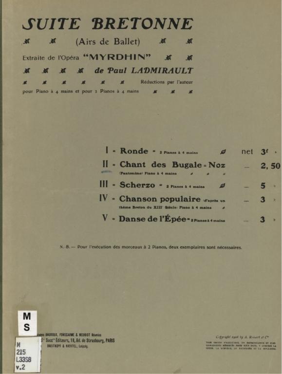 Suite bretonne: (airs de ballet), extraite de l'opéra Myrdhin