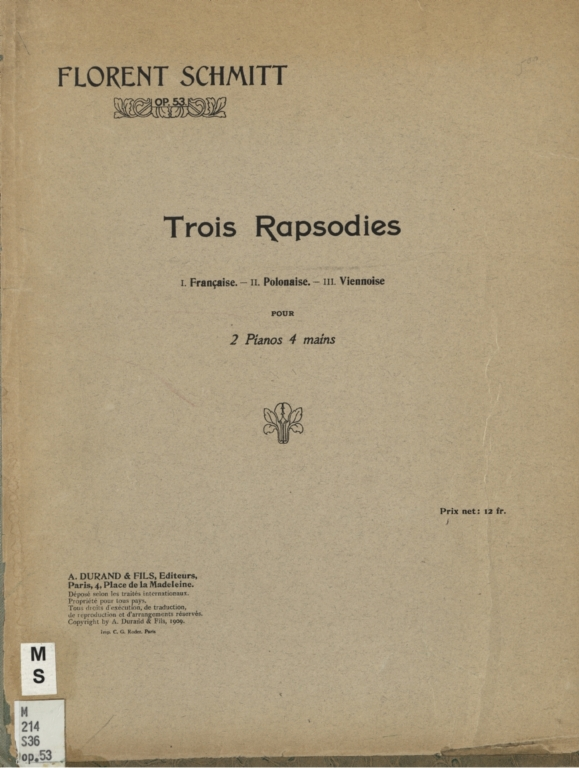 Trois rapsodies pour 2 pianos, 4 mains, op. 53