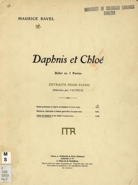 Daphnis et Chloé: ballet en 3 parties; extraits pour piano