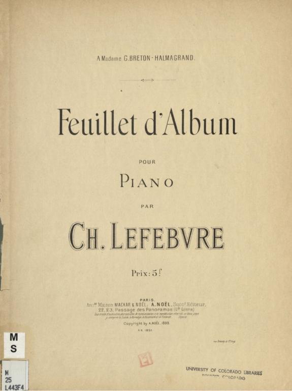 Feuillet d'Album: pour piano