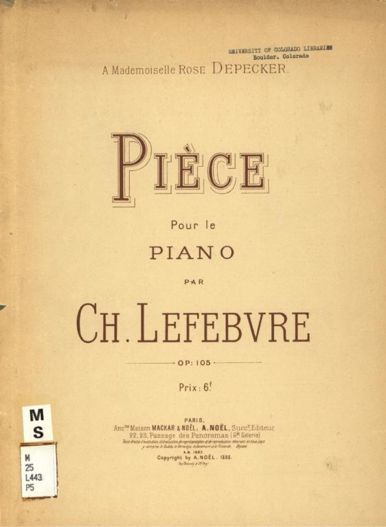 Pièce pour le piano, op. 105