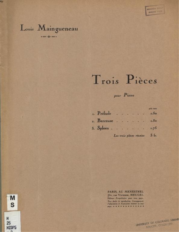 Trois pièces pour piano