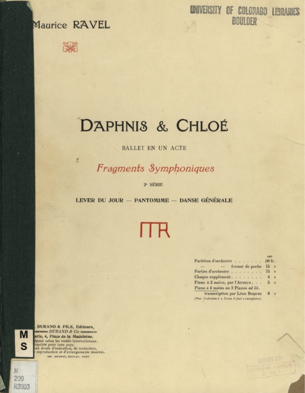 Daphnis and Chloé: ballet en un acte; fragments symphoniques, 2. série. Piano á 4 mains, ou 2 pianos ad lib.