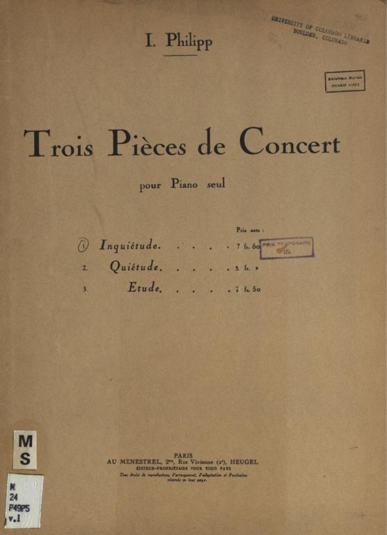 Trois pieces de concert: pour piano seul