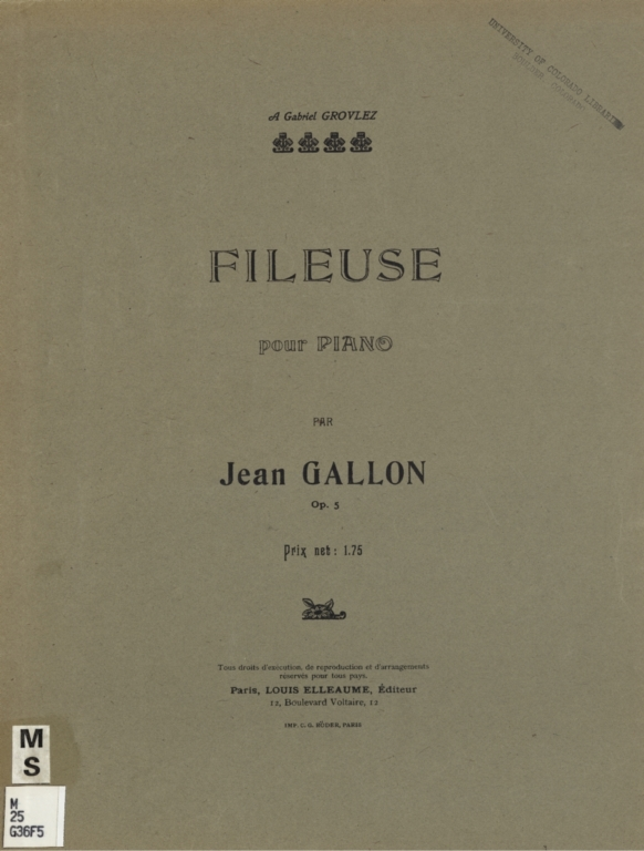 Fileuse: pour piano, op. 5