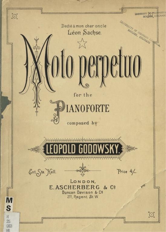 Moto perpetuo: for the pianoforte