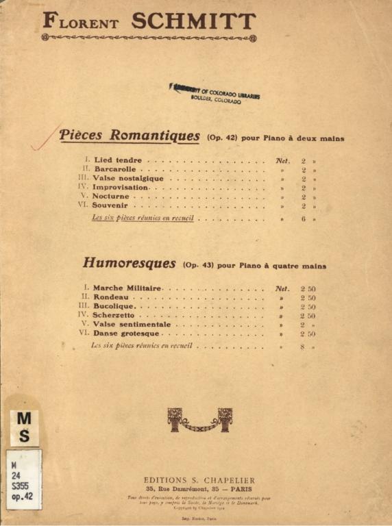 Pièces romantiques, op. 42: pour piano á deux mains