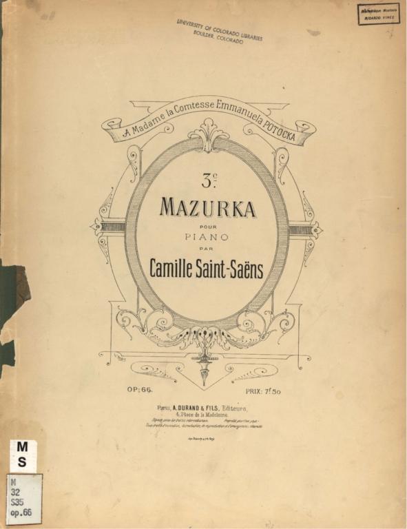 3e mazurka pour piano, op. 66