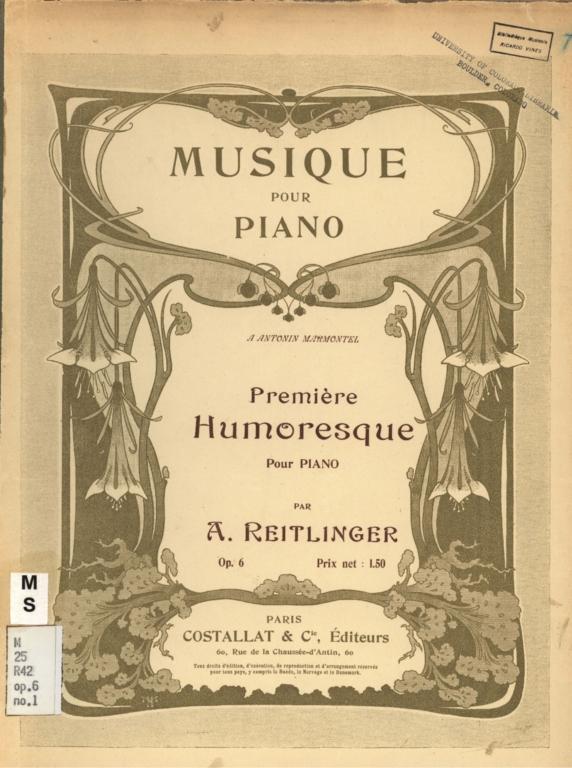 Première humoresque pour piano, op. 6