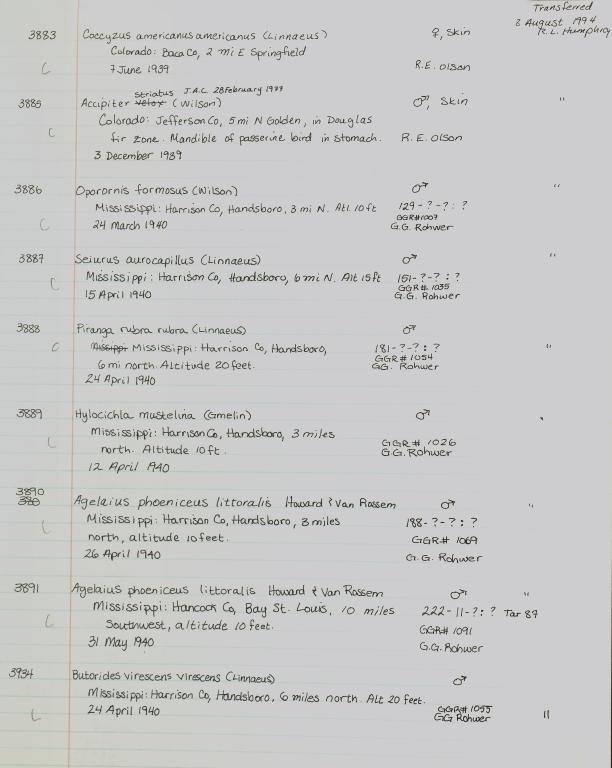 Records 3883, 3884, 3885, 3886, 3887, 3888, 3889, 3890, 3891, 3934, from University of Colorado Museum Bird Catalog: no. UCM 7-4049
