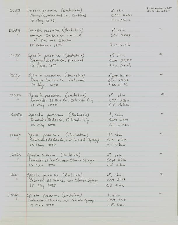 Records 12053, 12054, 12055, 12056, 12057, 12058, 12059, 12060, 12061, 12062, from University of Colorado Museum Bird Catalog: no. UCM 11100-13523