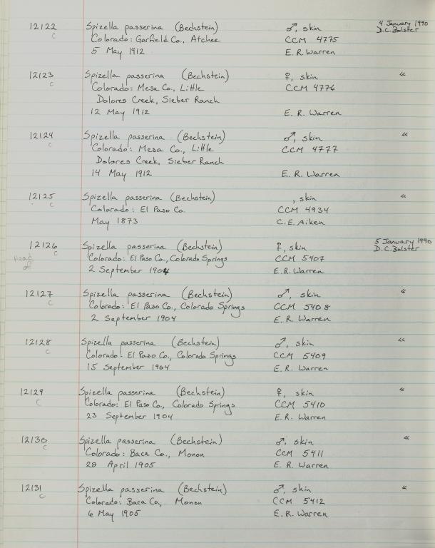 Records 12122, 12123, 12124, 12125, 12126, 12127, 12128, 12129, 12130, 12131, from University of Colorado Museum Bird Catalog: no. UCM 11100-13523