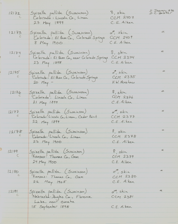 Records 12172, 12173, 12174, 12175, 12176, 12177, 12178, 12179, 12180, 12181, from University of Colorado Museum Bird Catalog: no. UCM 11100-13523