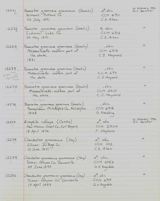 Records 12271, 12272, 12273, 12274, 12275, 12276, 12277, 12278, 12279, 12280, from University of Colorado Museum Bird Catalog: no. UCM 11100-13523