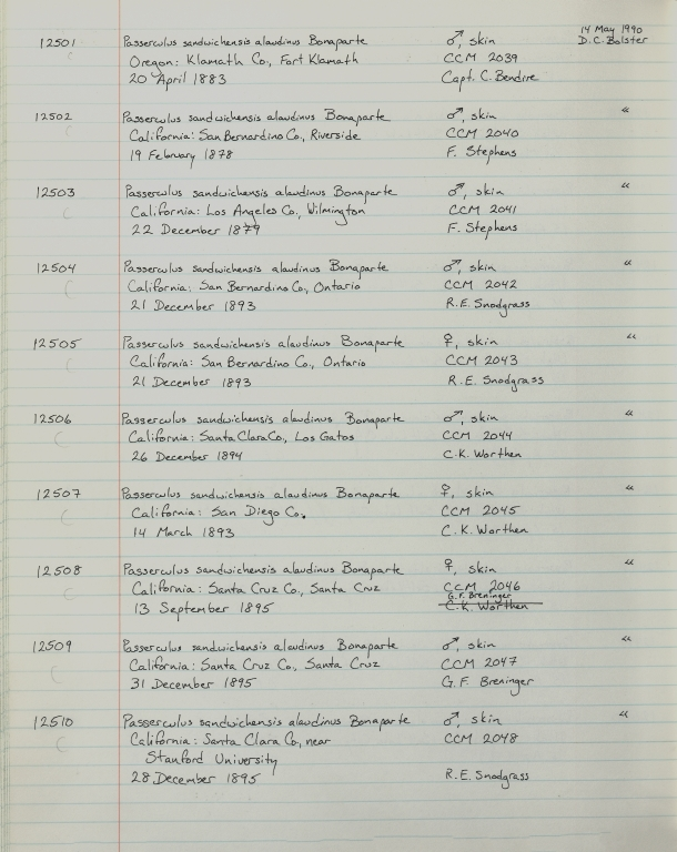 Records 12501, 12502, 12503, 12504, 12505, 12506, 12507, 12508, 12509, 12510, from University of Colorado Museum Bird Catalog: no. UCM 11100-13523