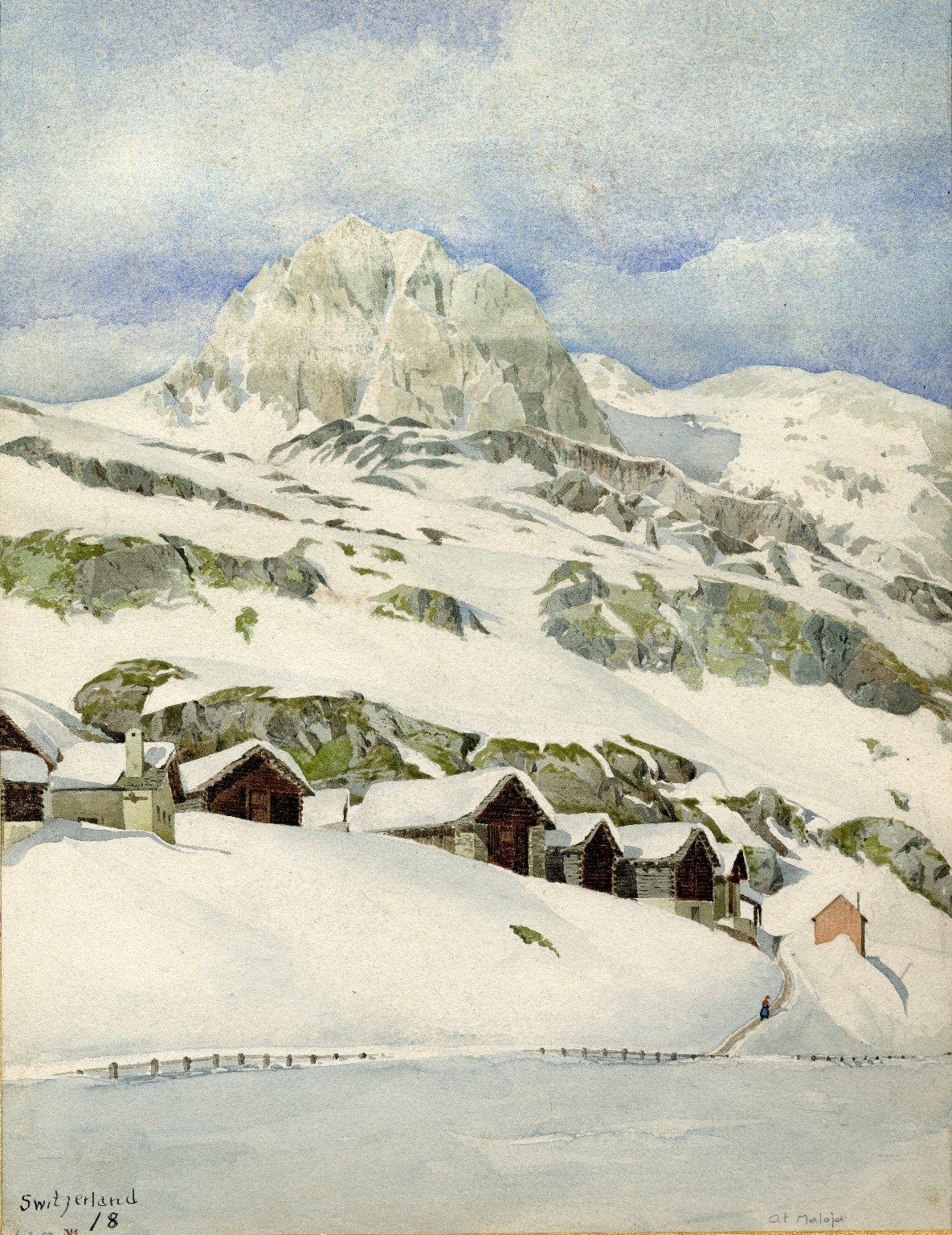 Snowy landscape at Maloja, Switzerland