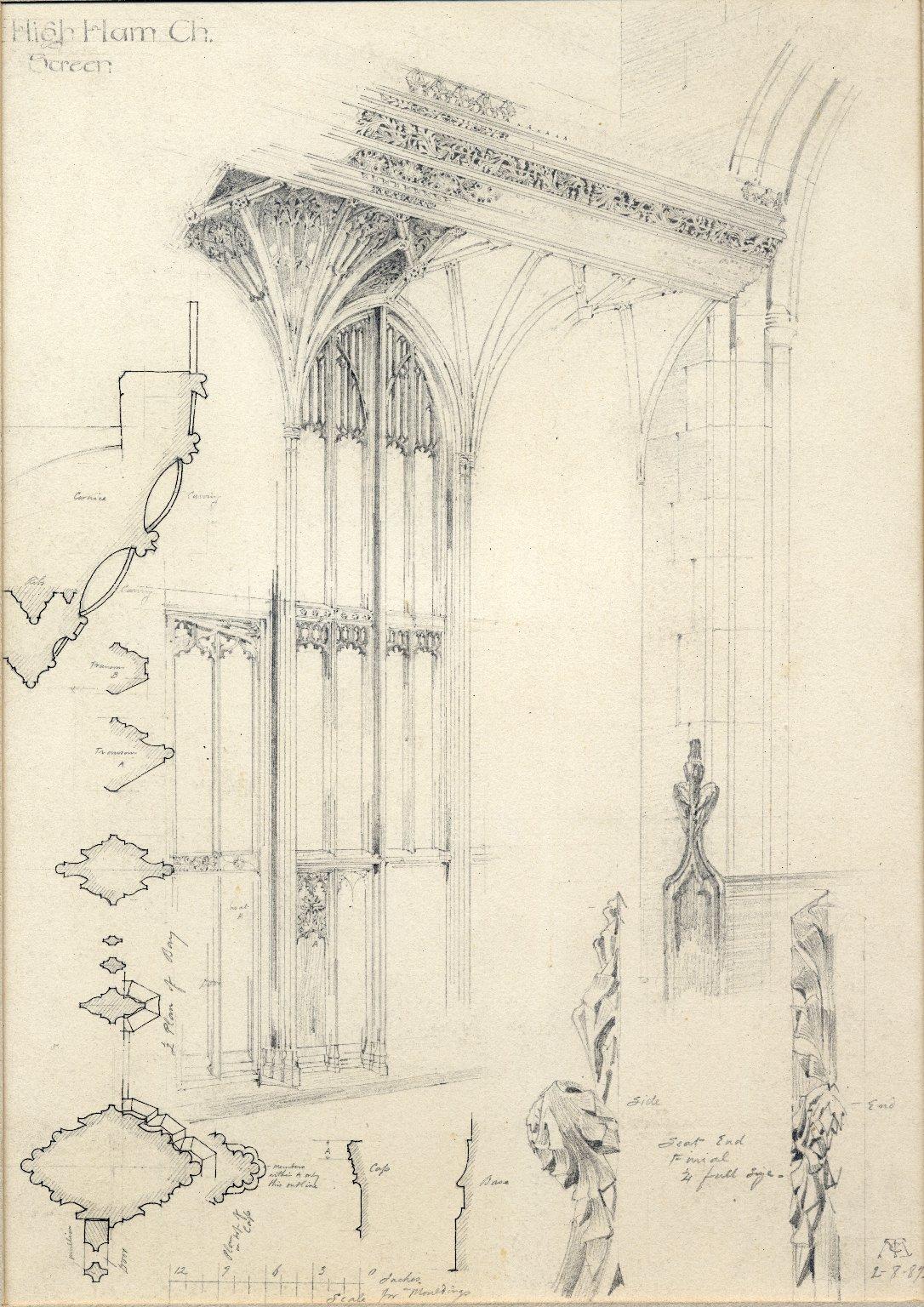 Sketch of interior window detail, High Ham Church