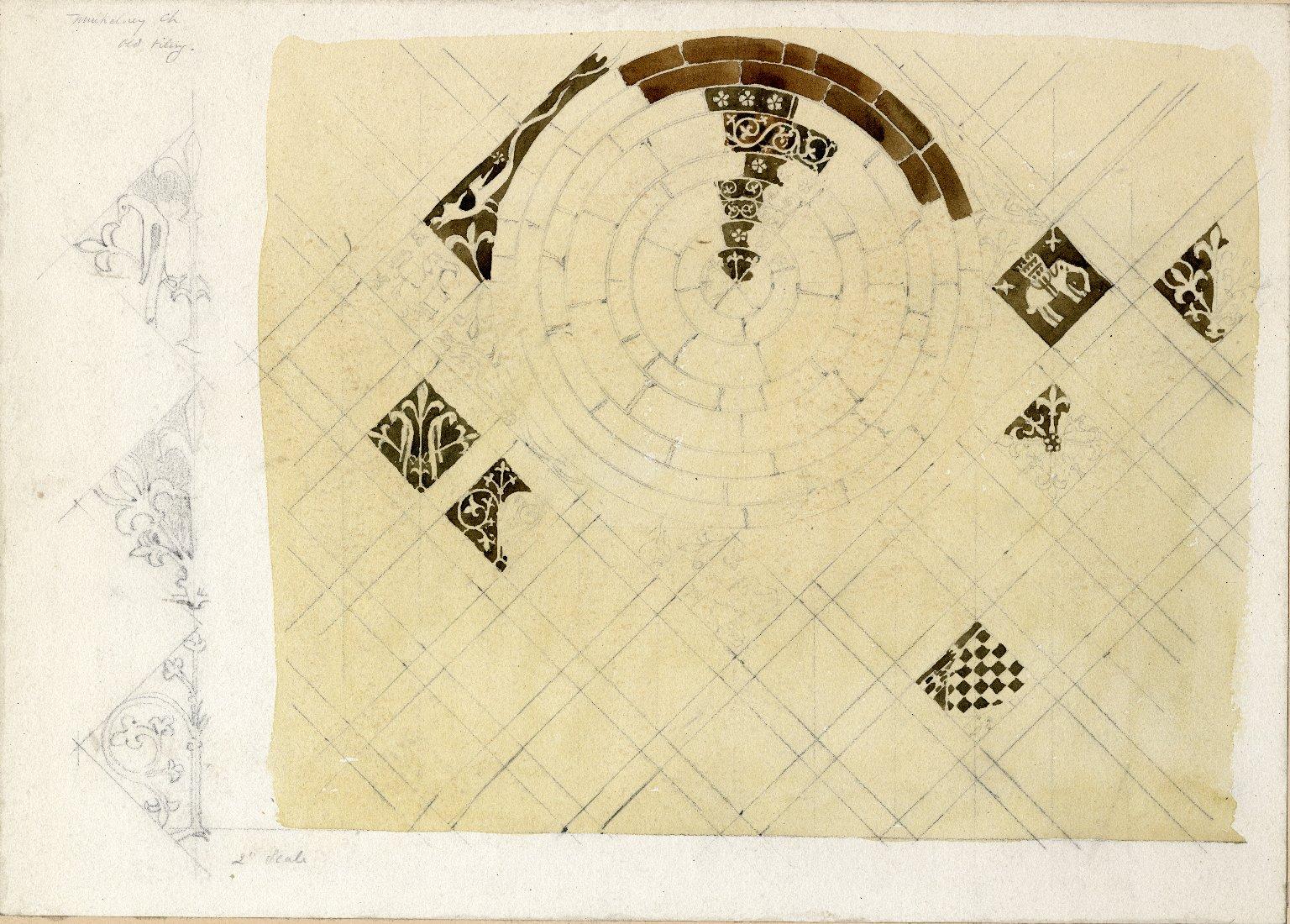 Tile designs from the Muchelney church