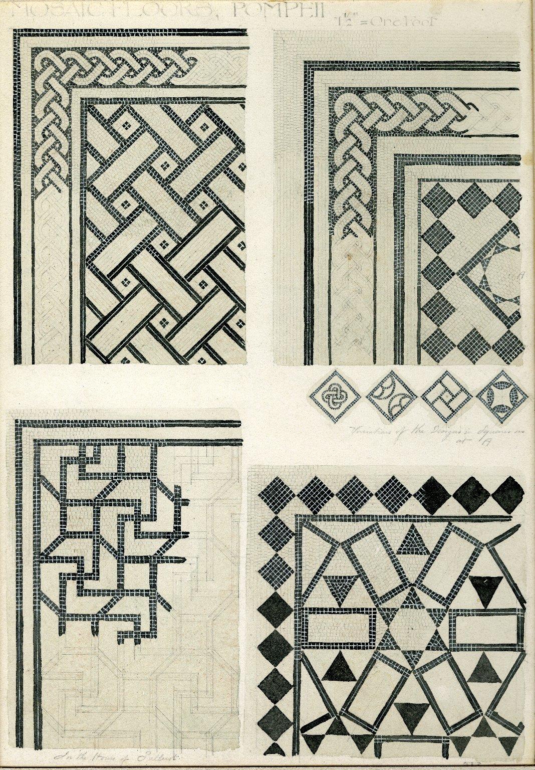 Mosaic detail on floors. Pompeii