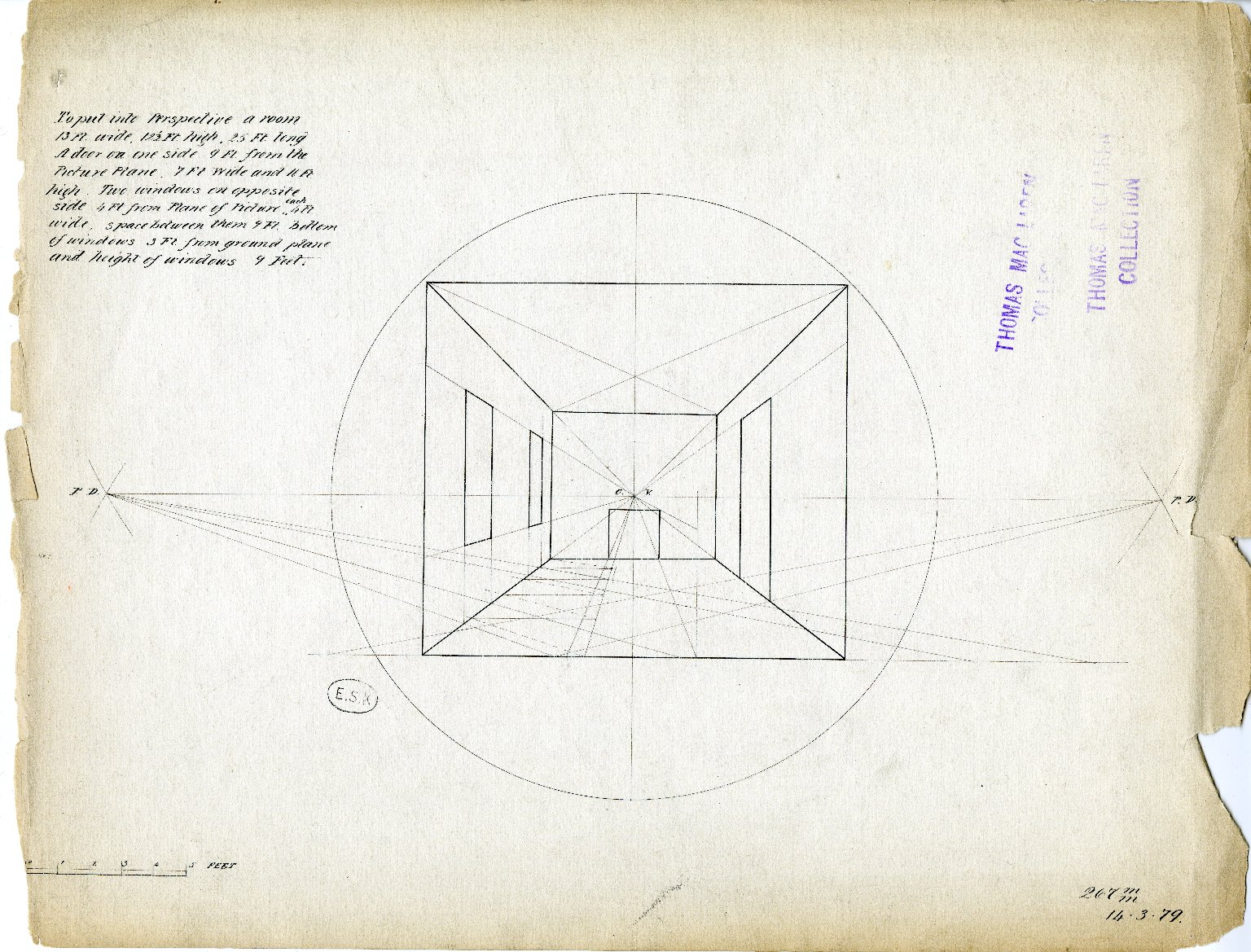 Perspective drawing of unidentified room